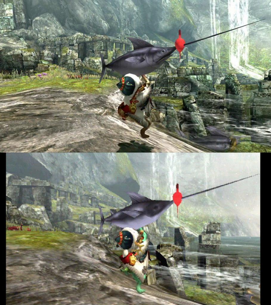 Monster Hunter XX porównanie grafiki na Swichu i 3DSie