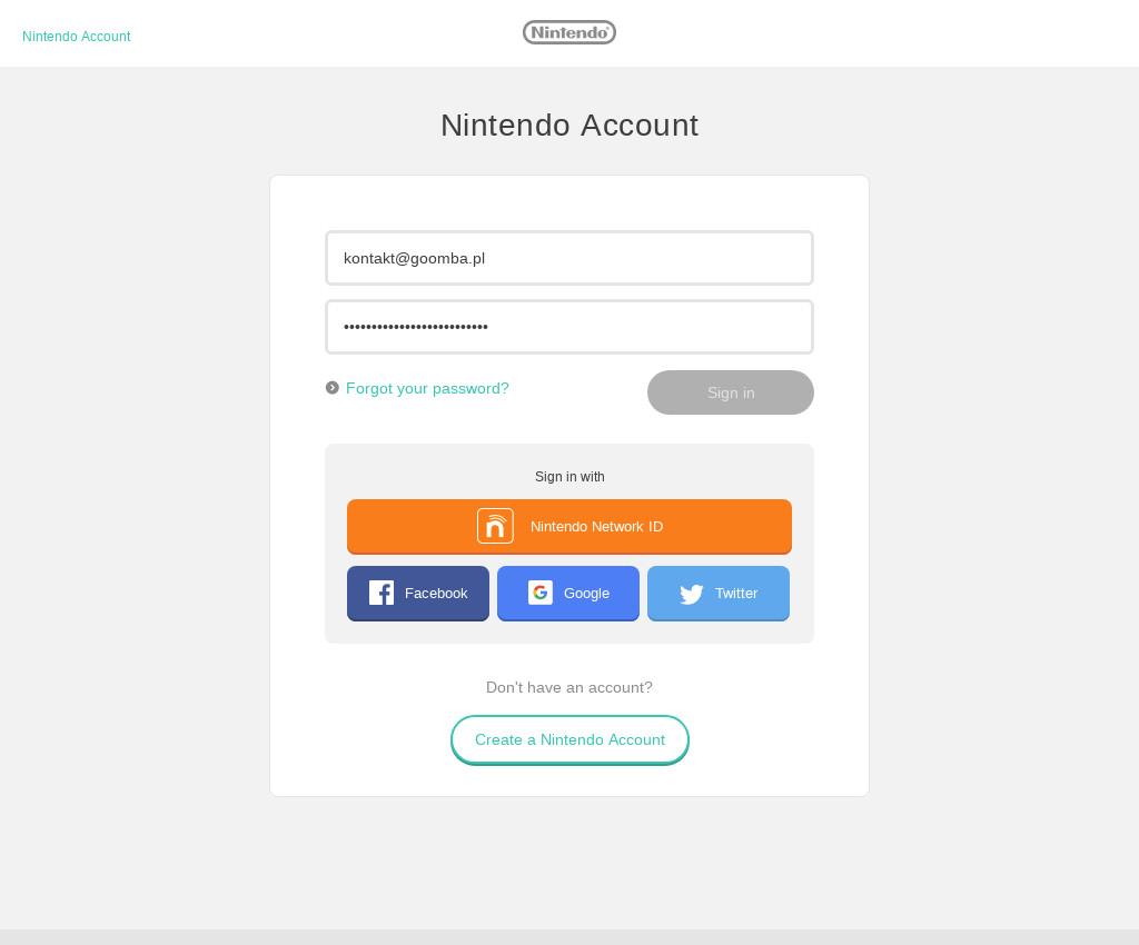 Logowanie do Nintendo Account