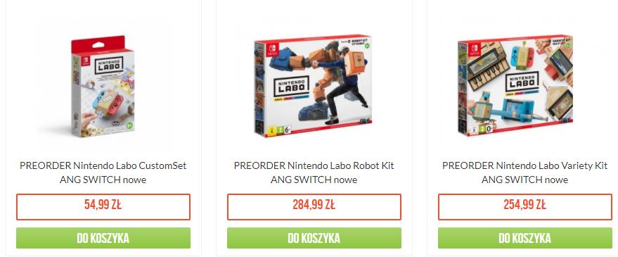 Polskie ceny Nintendo Labo